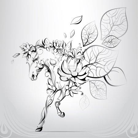 Illustration pour Cheval silhouettes de fleurs, illustration vectorielle - image libre de droit