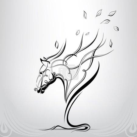 Illustration pour Silhouette graphique d'un cheval, illustration vectorielle - image libre de droit