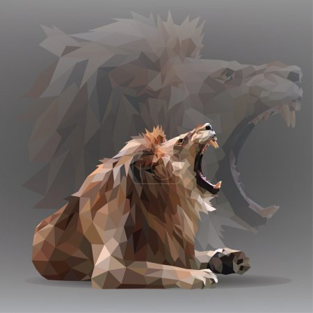Illustration for Growling lion in geometrical style. Vector illustration - Royalty Free Image