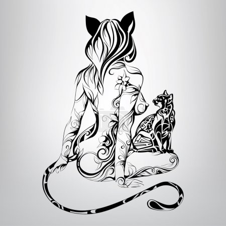 Silhouette of girl cat with  cat