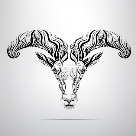 Illustration for The vector head of a ram in an ornament - Royalty Free Image