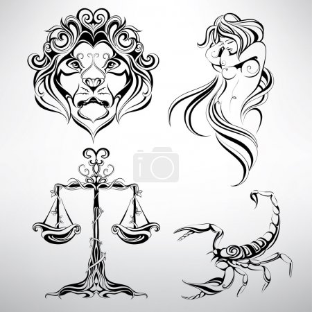 Illustration for Set of zodiac signs,vector illustration - Royalty Free Image