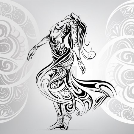 Illustration for Dancing girl in the ornament - Royalty Free Image