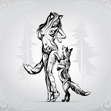 Illustration for The meeting of two foxes in the woods - Royalty Free Image