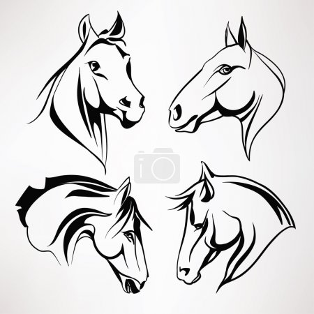 Set of horses heads.