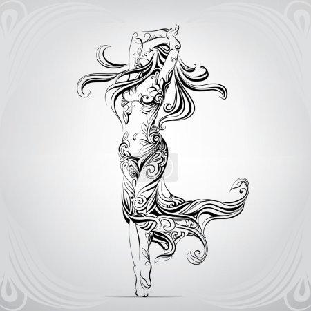 Illustration pour Fille dansante dans l'ornement. Illustration vectorielle artistique - image libre de droit