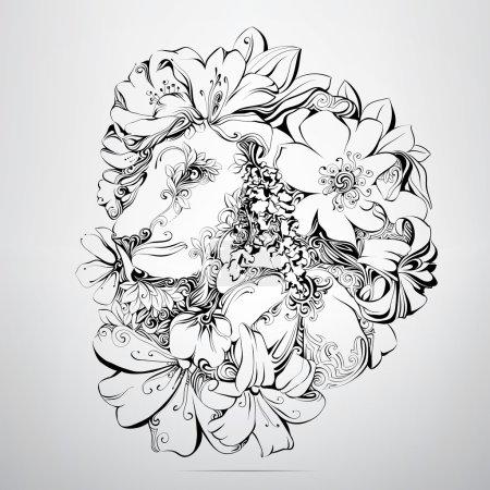 Head of lion in flower ornament