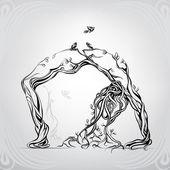 Dívka z větví symbolu