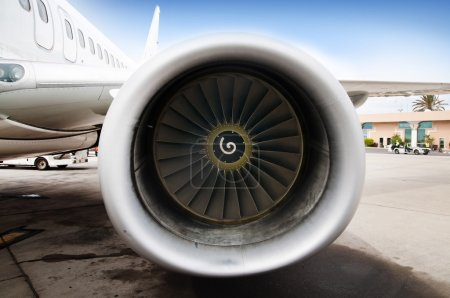 Close up of an engine of a passenger plane
