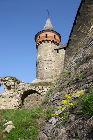 The medieval castle with lots of towers and battlements is in th