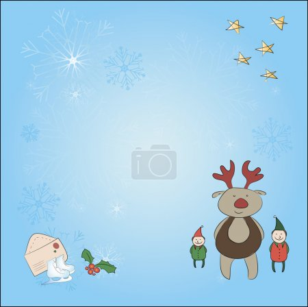 Christmas card with a reindeer and an elf. Background with snowflakes, stars, reindeer, elf, envelope, white horses and so lie on the individual layers - can be turned off. Form square cards