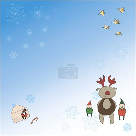 Christmas card with a reindeer and an elf and Santa Claus letter. Background with snowflakes, stars, letter to Santa Claus, and the other is on separate layers - can be turned off.