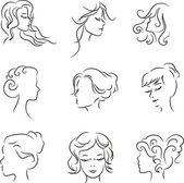 Silhouettes of heads of girls with beautiful hairstyle Concept