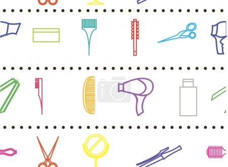 Seamless pattern with objects hair care and body cosmetology. De