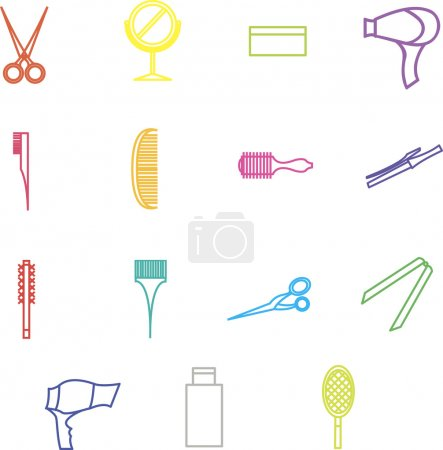 Decor elements for design barber shop, beauty salon, hair care a