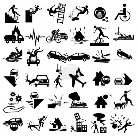 Illustration for Accident icons set for insurance, falling ladder, slippery, gas explosion, stumble, risks, cancer, bites, plane crash, thief, blast, murder, war, wheelchair, earthquake, building collapse, splint. car - Royalty Free Image