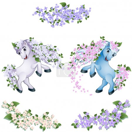 Illustration for Spring horse with flowers of a lilac in a mane - Royalty Free Image