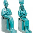 Statue of ancient egypt deities Osiris and Isis wi...