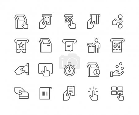 Illustration for Simple Set of Kiosk Terminal Related Vector Line Icons.  Contains such Icons as Choosing Options, Getting receipt, Printing tickets and more. Editable stroke. 48x48 Pixel Perfect. - Royalty Free Image