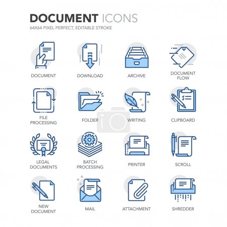 Illustration for Simple Set of Document Related Color Vector Line Icons. Contains such Icons as Batch Processing, Legal Documents, Clipboard, Download, Document Flow and more. Editable Stroke. 64x64 Pixel Perfect. - Royalty Free Image