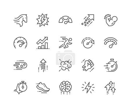 Illustration pour Ensemble simple d'icônes de ligne vectorielle liées aux performances. Contient des icônes telles que Puissance, Vitesse, Graphique, Sprint, Boost, Cerveau, Gain et plus encore. Un AVC modifiable. 48x48 Pixel Parfait . - image libre de droit