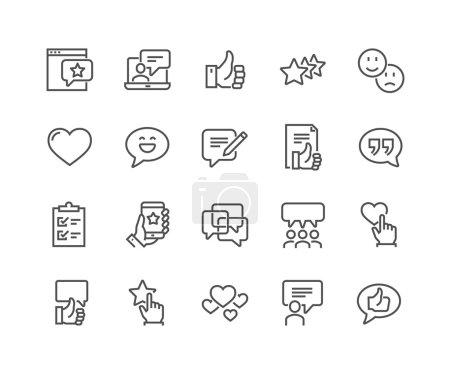 Illustration pour Jeu simple de témoignages Icônes de ligne vectorielle connexes. Contient des icônes telles que la gestion de la relation client, rétroaction, examen, symboles émotion et plus encore. Un AVC modifiable. 48x48 Pixel Parfait . - image libre de droit