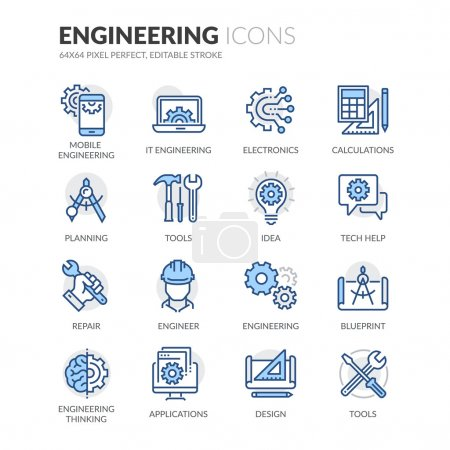 Photo for Simple Set of Engineering Related Color Vector Line Icons. Contains such Icons as Calculations, Blueprint, Engineer, App Design and more. Editable Stroke. 64x64 Pixel Perfect. - Royalty Free Image