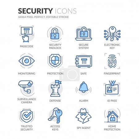 Photo for Simple Set of Security Related Color Vector Line Icons. Contains such Icons as Surveillance Camera, Fingerprint, ID pass and more. Editable Stroke. 64x64 Pixel Perfect. - Royalty Free Image