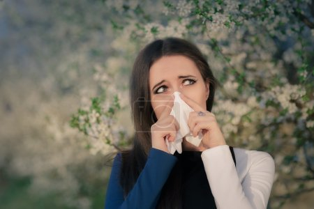 Girl with Spring Allergies in Floral Decor