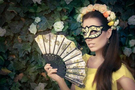 Beautiful Woman with Floral Wreath, Mask and Fan