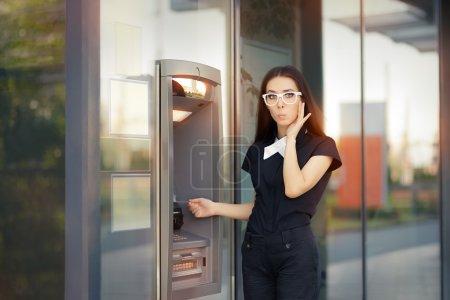 Funny broke businesswoman checking account balance...