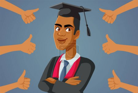 Illustration for Male Student Receiving Appreciation at Graduation Ceremony - Royalty Free Image