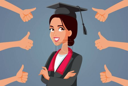 Illustration for Female Student Receiving Appreciation at Graduation Ceremony - Royalty Free Image