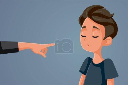 Illustration pour Doigt pointant jeune adolescent garçon vectoriel illustration - image libre de droit