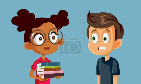 Illustration for Little Boy Scared of Homework Studying with His Friend - Royalty Free Image