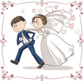 Vector cartoon of a scared groom running away from bride and marriage File type: vector EPS AI8 compatible No gradients and no transparencies