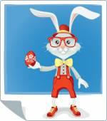 Hipster Easter Bunny Cartoon