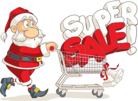 Santa Claus Super Sale Vector Cartoon