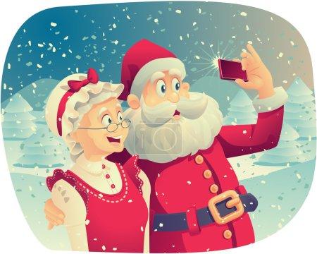 Illustration pour Caricature vectorielle du Père Noël et de sa femme prenant une photo de Noël ensemble . - image libre de droit