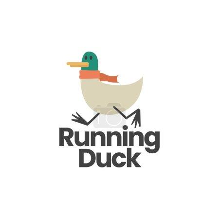 Illustration pour Illustration vectorielle d'icône de logo plat de canard courant - image libre de droit