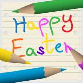 Greeting card - school notebook with lines colored pencils and text Happy Easter