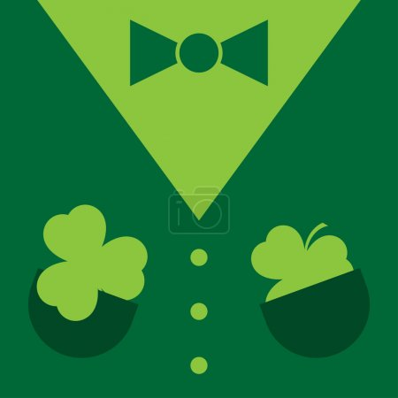 Dark green suit with shamrocks in pockets, bow tie...