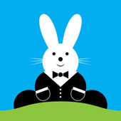 Vector sitting smiling Easter bunny with suit under blue sky
