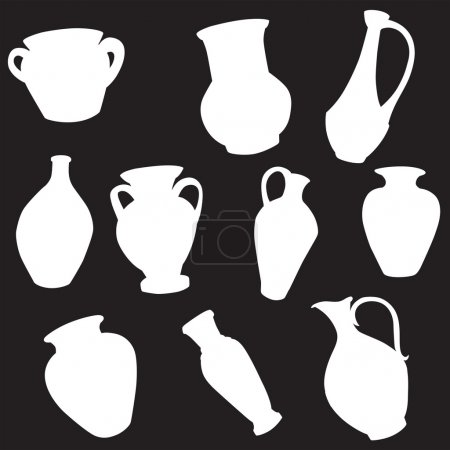Vector silhouette of different pitchers