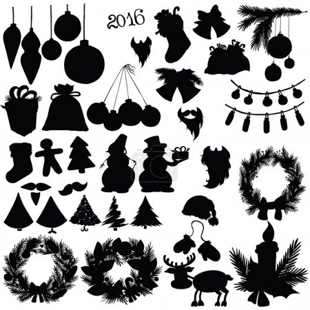 Vector silhouette elements of a new year