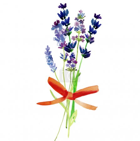 Photo for Watercolor lavender wildflowers bouquet - Royalty Free Image
