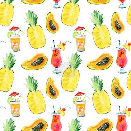 Photo pour Modèle sans couture avec fruits et coqs - image libre de droit