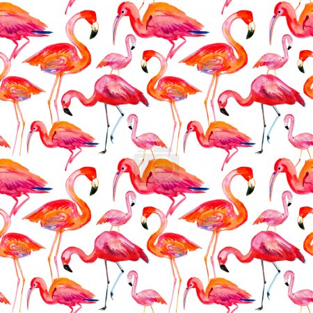 Pattern with watercolor flamingos