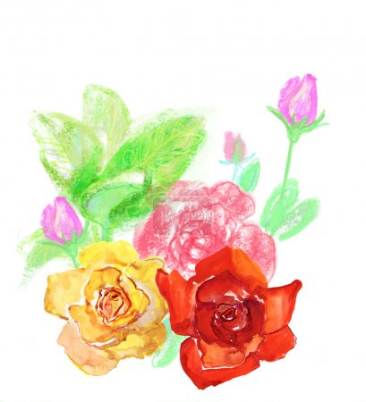 Beautiful watercolor colorful flowers