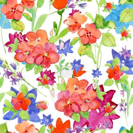 Photo pour Fleurs, fleurs roses. Sans couture vintage motif floral. Design rétro Aquarelle sur fond blanc - image libre de droit